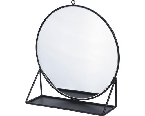 Oglinda cu suport Happy negru Ø 30 cm