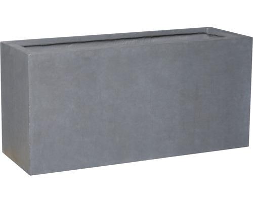 Jardiniera Lafiora Emil, piatra artificiala, 74,5x25x35 cm, gri inchis