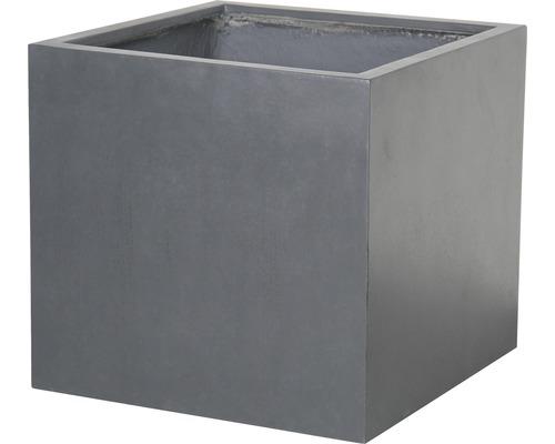 Ghiveci Lafiora Emil, piatra artificiala, 44 x 44 x 42 cm, gri inchis