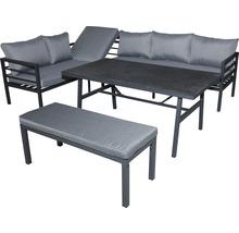 Set mobilier gradină Alu 8 locuri 4 piese aluminiu, antracit