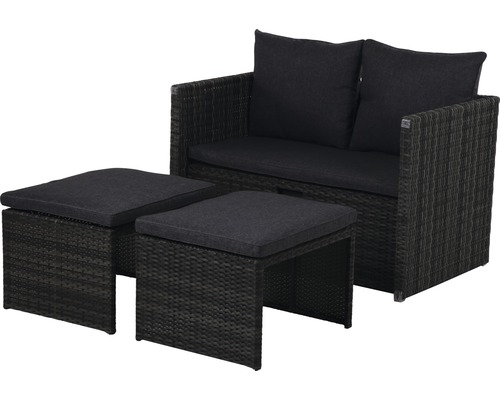Set mobilier gradina multifunctional Carter, 1 masa, 1 banci si 2 taburete, antracit