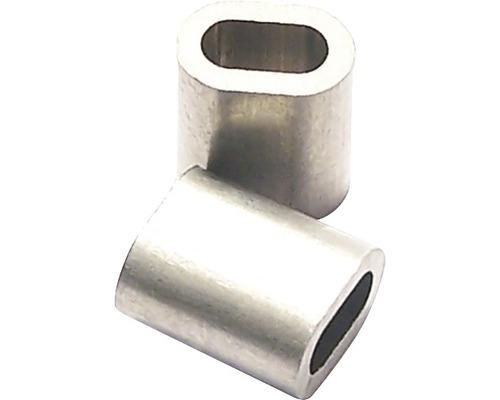 Cleme presare cablu metalic Pösamo Ø5x13 mm, aluminiu, pachet 5 bucăți