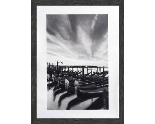Tablou inramat Boats alb-negru 30x40 cm