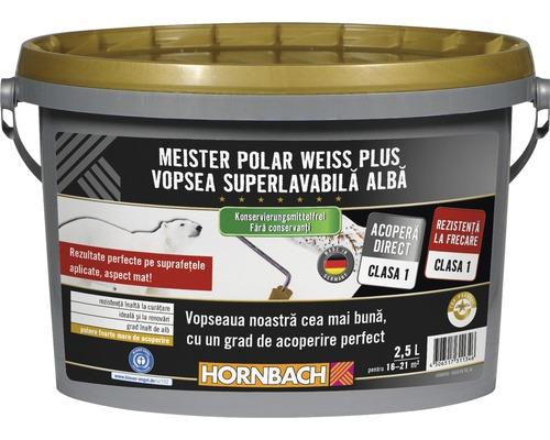 Vopsea lavabilă Meister Polar Weiss Plus fără conservanți 2,5 l