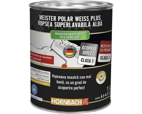 Vopsea lavabilă Meister Polar Weiss Plus fără conservanți 1 l