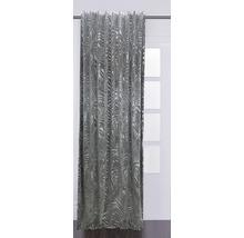 Draperie cu inele Velvet, imprimeu frunze tropicale, gri 140x280 cm