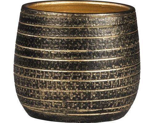 Mască ghiveci Solano Ø 16 cm H 14 cm negru/auriu