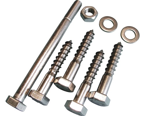 Set holșuruburi & șurub metric fixare suport stâlp de lemn 91mm, oțel inoxidabil