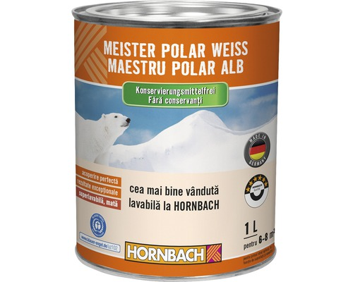 Vopsea lavabila Meister Polar Weiss fara conservanti 1 l