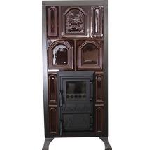Sobă teracotă 4 R maro cu ușă de sticlă maro