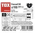 Dibluri plastic cu surub Tox Fassad 10x140 mm, 50 bucati, cap inecat, pentru rame/tocuri