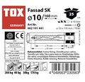 Dibluri plastic cu surub Tox Fassad 10x160 mm, 25 bucati, cap inecat, pentru rame/tocuri