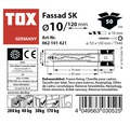 Dibluri plastic cu surub Tox Fassad 10x120 mm, 50 bucati, cap inecat, pentru rame/tocuri