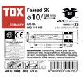 Dibluri plastic cu surub Tox Fassad 10x180 mm, 25 bucati, cap inecat, pentru rame/tocuri