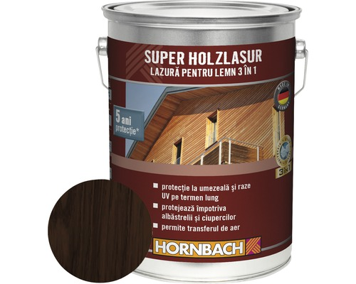 Lazura pentru lemn 3 in 1 Super Holzlasur palisandru 5 l