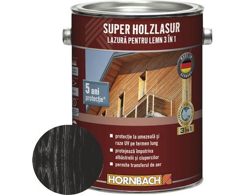 Lazura pentru lemn 3 in 1 Super Holzlasur antracit 2,5 l
