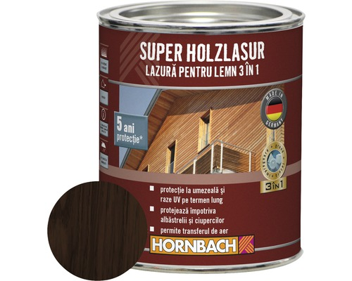 Lazură pentru lemn 3 în 1 Super Holzlasur palisandru 0,75 l