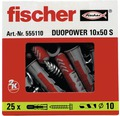 Dibluri plastic cu șurub Fischer DuoPower 10x50 mm, 25 bucăți