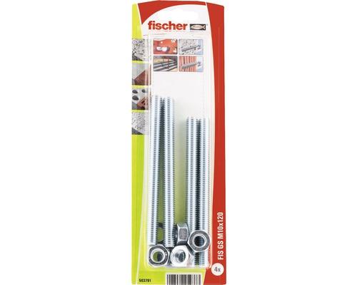 Tije filetate cu saiba si piulita Fischer FIS-GS M10x120 mm, 4 bucati, pentru ancore chimice