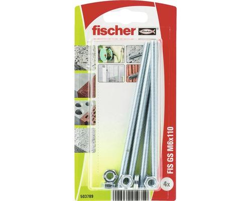 Tije filetate cu saiba si piulita Fischer FIS-GS M6x110 mm, 4 bucati, pentru ancore chimice