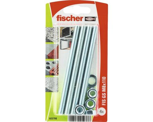 Tije filetate cu saiba si piulita Fischer FIS-GS M8x110 mm, 4 bucati, pentru ancore chimice
