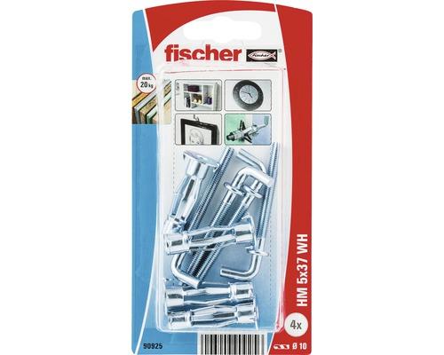 Ancore metalice cu carlig Fischer HM Ø10x37 mm, filet metric M5, 4 bucati, pentru perete fals