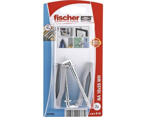 Dibluri plastic cu carlig Fischer NA 10x55 mm, 2 bucati, pentru perete fals
