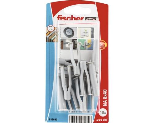 Dibluri plastic fara surub Fischer NA 8x40 mm, 10 bucati, pentru perete fals