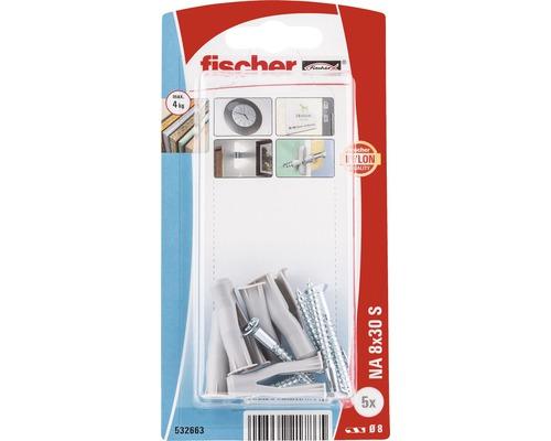 Dibluri plastic cu surub Fischer NA 8x30 mm, 5 bucati, pentru perete fals