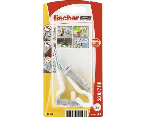Dibluri plastic cu carlig rotund alb Fischer SB 8x40 mm, 2 bucati