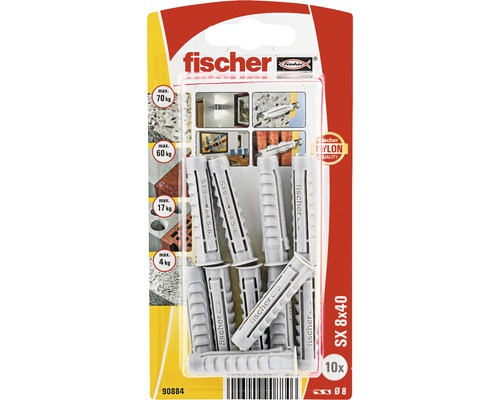 Dibluri plastic fara surub Fischer SX 8x40 mm, 10 bucati