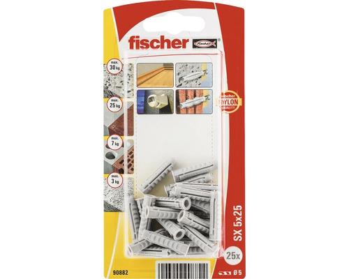 Dibluri plastic fara surub Fischer SX 5x25 mm, 25 bucati