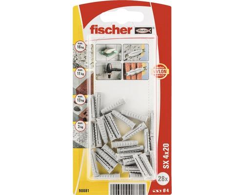 Dibluri plastic fara surub Fischer SX 4x20 mm, 28 bucati
