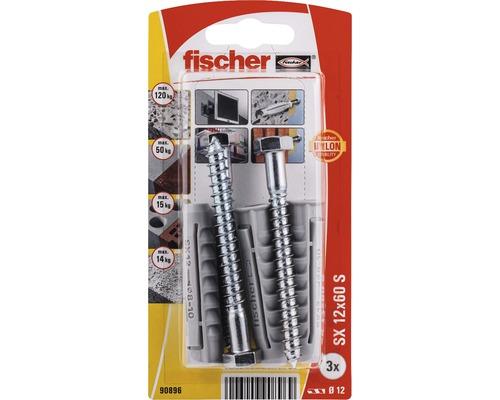 Dibluri plastic cu surub Fischer SX 12x60 mm, 3 bucati