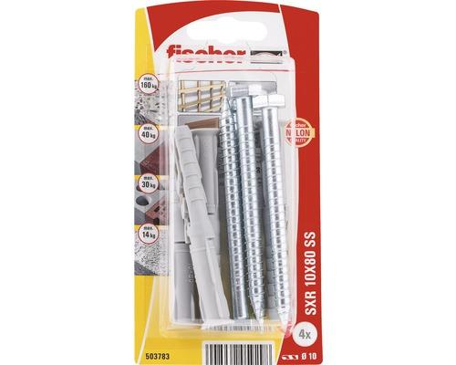 Dibluri plastic cu surub Fischer SXR 10x80 mm, 4 bucati, cap hexagonal, pentru rame/tocuri
