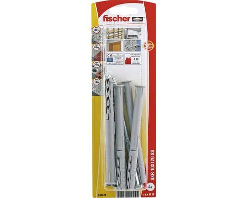 Dibluri plastic cu surub Fischer SXR 10x120 mm, 4 bucati, cap hexagonal, pentru rame/tocuri