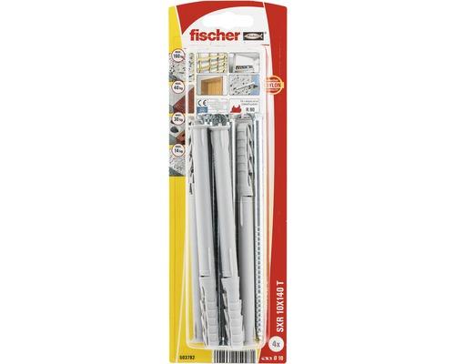 Dibluri plastic cu surub Fischer SXR 10x140 mm, 4 bucati, cap inecat, pentru rame/tocuri