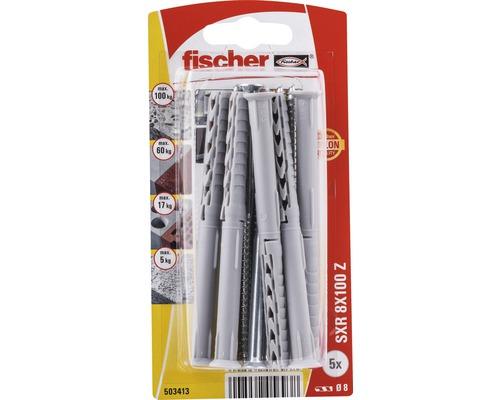 Dibluri plastic cu surub Fischer SXR 8x100 mm, 5 bucati, cap inecat, pentru rame/tocuri