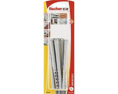 Dibluri plastic cu surub Fischer SXR 8x120 mm, 4 bucati, cap inecat, pentru rame/tocuri