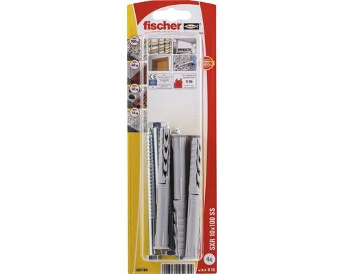 Dibluri plastic cu surub Fischer SXR 10x100 mm, 4 bucati, cap hexagonal, pentru rame/tocuri