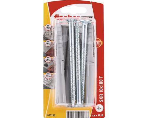Dibluri plastic cu surub Fischer SXR 10x100 mm, 4 bucati, cap inecat, pentru rame/tocuri
