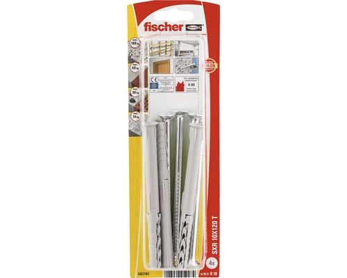 Dibluri plastic cu surub Fischer SXR 10x120 mm, 4 bucati, cap inecat, pentru rame/tocuri