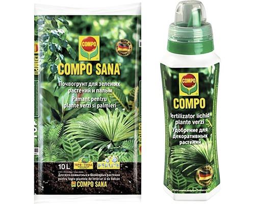 Pachet 2 Compo Sana Substrat pentru palmieri si plante verzi 10 l + Fertilizator lichid