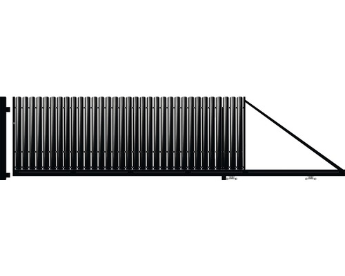 Poartă auto portantă, 1750 x 4000 mm, deschidere dreapta, negru