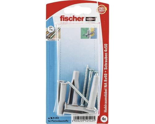 Dibluri plastic cu surub Fischer NA 8x40 mm, 4 bucati, pentru perete fals