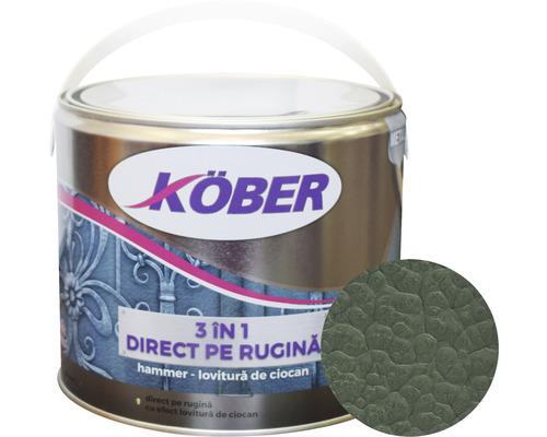 Email anticoroziv cu efect de lovitura de ciocan Köber hammer verde luminos 2,5 l