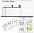 Jardiniera Lechuza Balconera Color 80x19x19 cm, gri