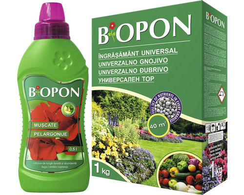 Biopon pachet îngrășământ universal 1 kg + îngrășământ pentru pelargonii 0,5 l