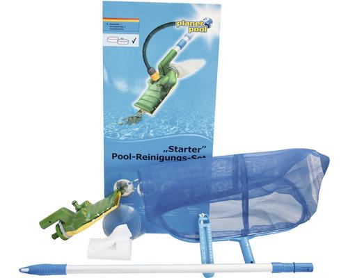 Kit de intretinere piscina: minciog de adancime, aspirator Crocovac, termometru bazin, burete pentru curatare linia apei