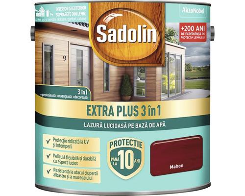 Lazură lucioasă pe bază de apă Sadolin Extra Plus 3 în 1 mahon 2,5 l
